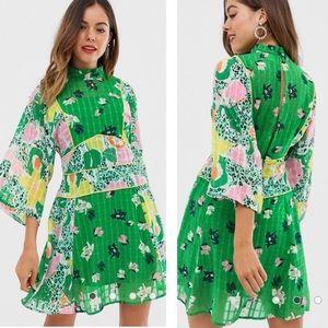 ASOS DESIGN 70s Green Mixed Print Mini Shift Dress